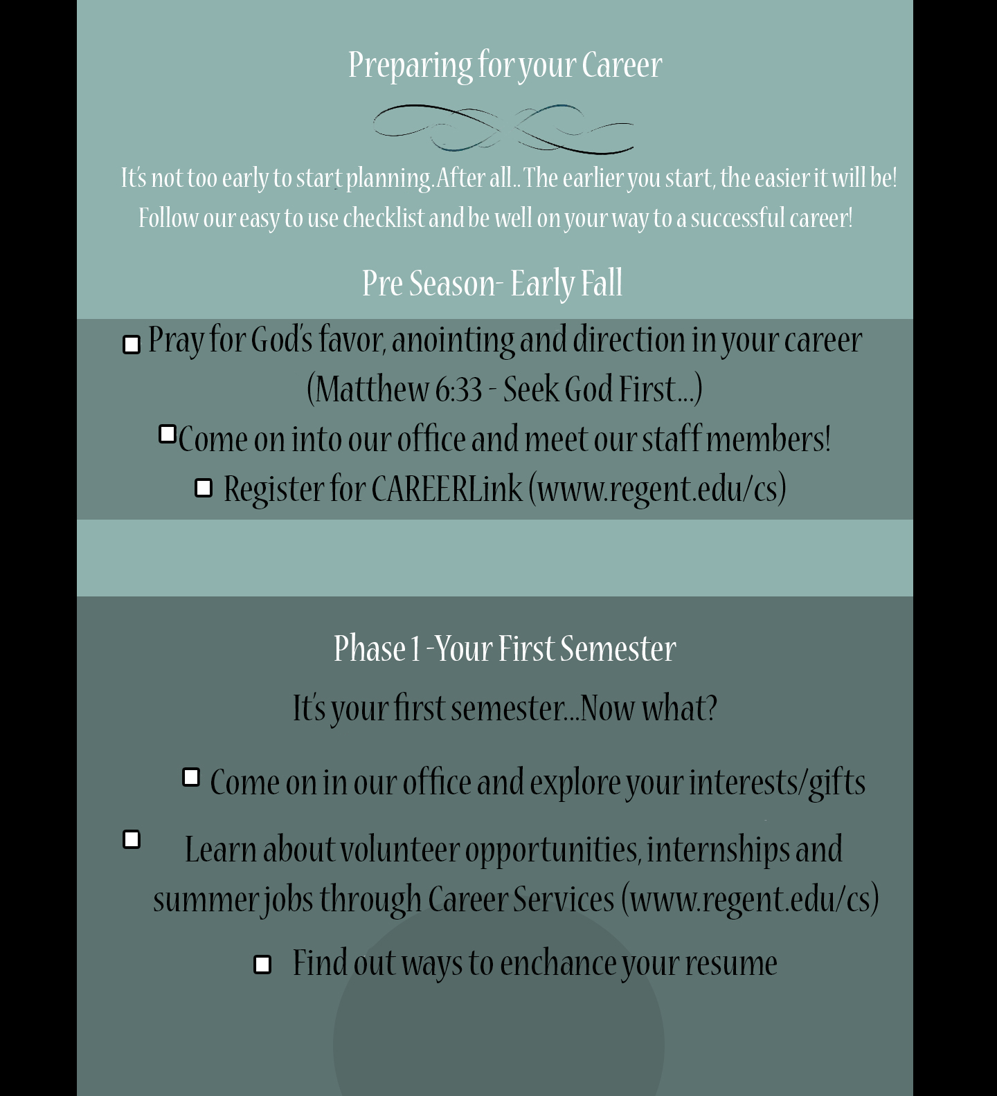 Career Services Checklist